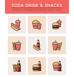 Soft soda drink and different fast food vector