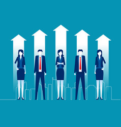 Successful business team standing together vector