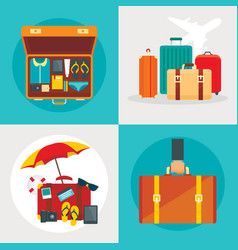suitcase banner set flat style vector image