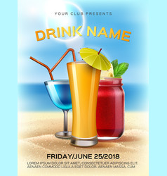Summer tropical club cocktail party poster vector