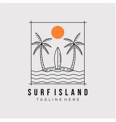 Surfing island line art logo design minimalist vector