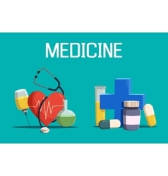 Syringe and medicine cross heart tablet vector