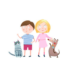 teenager boy and girl with dog and cat vector image