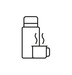 Thermos bottle and cup adventure thin line icon vector