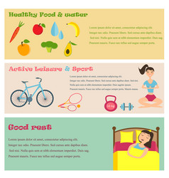 Three banners of healthy lifestyle icons vector