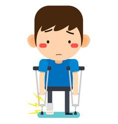 Tiny cute cartoon patient man character broken vector