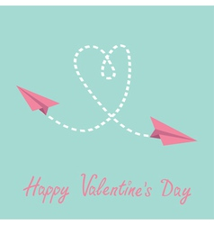 Two flying paper planes Heart Valentines Day card vector