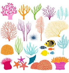 Underwater design elements vector image