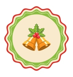 Wavy Christmas Label Icon Flat with Bells and vector