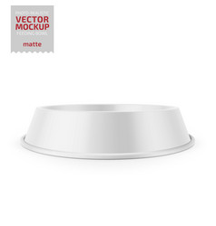 white glossy pet feeding bowl on rubber base vector image