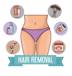 Woman waist with hair removal icons vector