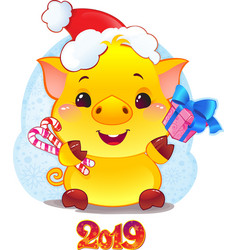 yellow earthy pig with gift box vector image