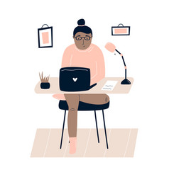 Young freelancer woman working remotely from home vector