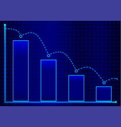 decreasing bar graph with blue arrow isometric vector image