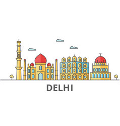 delhi city skyline buildings streets silhouette vector image