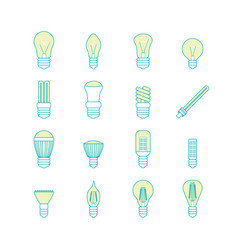 Different lamp or light bulbs line icons set vector