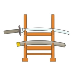 Katana on a wooden stand icon cartoon style vector image