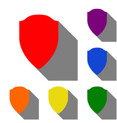 shield sign set of red orange vector image
