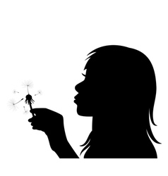 girl blowing the dandelion vector image vector image
