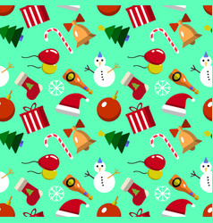 merry christmas seamless pattern with new years vector image vector image