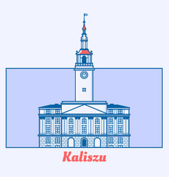 poland municipal house in line art vector image vector image