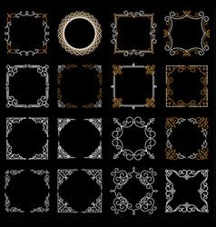 set decorative vintage frames in mono line style vector image