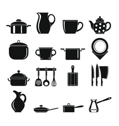 set flat black silhouette dishes items vector image