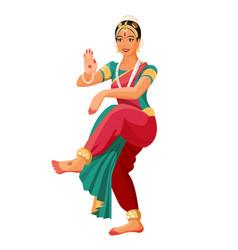 Bharatanatyam or bharathanatiyam woman dancer vector