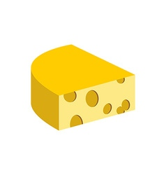 Cheese on a white background Piece of dairy vector image