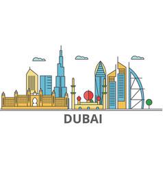 dubai city skyline buildings streets silhouette vector image