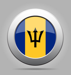 flag of barbados shiny metal gray round button vector image