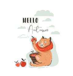 hand drawn abstract greeting cartoon autumn vector image vector image