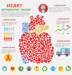 Heart infographic poster with symbols text and vector