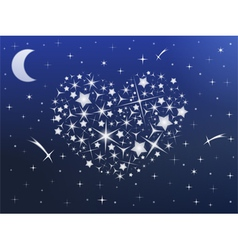 Heart made of stars in the night sky vector image vector image
