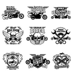 motorbike club vintage patches motorcycle vector image vector image