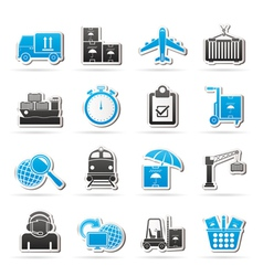 shipping and logistic icons vector image vector image