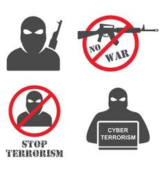 terrorism armed terrorist black mask hold weapon vector image vector image