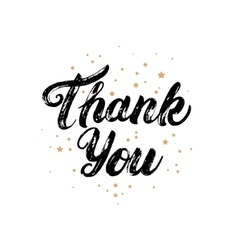 Thank you card with gold stars background vector image