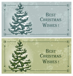 vintage christmas cards with spruce in the snow vector image vector image