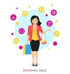 Woman doing shopping vector image