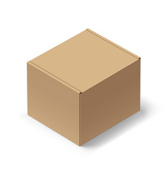 close up carton box with shadow on white vector image