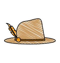 Color crayon stripe image explorer hat with vector