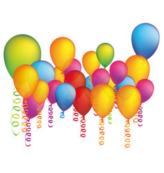 colored party balloon with serpentine icon vector image vector image