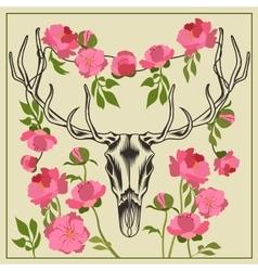 Deer skull antlered flowers peonies vector image
