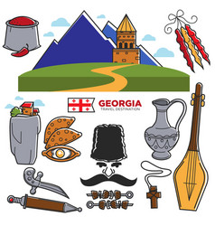 georgia travel and tourism famous georgian culture vector image vector image