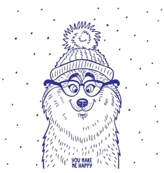 husky in hat vector image