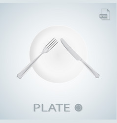 plate with fork and knife crossed isolated on a vector image vector image