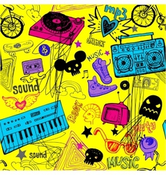 Seamless yellow music background vector image vector image