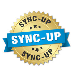 sync-up round isolated gold badge vector image vector image