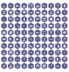 100 stylist icons hexagon purple vector